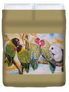 Flygende Lammet     Productions          5 Lovebirds Sitting On A Twig Duvet Cover
