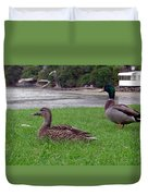 New Zealand - Mallard Ducks On The Grass Duvet Cover