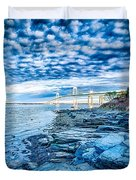 Newport Bridge Connecting Newport And Jamestown At Sunrise Duvet Cover