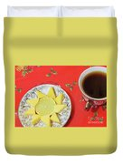 On The Eve Of Christmas. Tea Drinking With Cheese. Duvet Cover