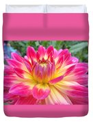 Pink And Yellow Dahlia Duvet Cover