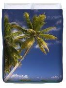 Polynesian Beach With Palms Duvet Cover