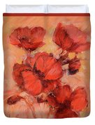 Poppy Flowers Handmade Oil Painting On Canvas Duvet Cover