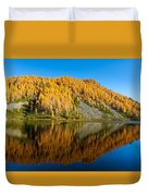 Reflections On Water, Autumn Panorama From Mountain Lake Duvet Cover