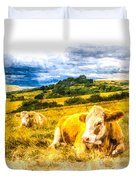 Resting Cows Art Duvet Cover