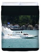 Roostertail From Racing Hydroplanes Boats On The Detroit River For Gold Cup Duvet Cover