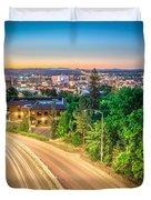 Spokane Washington City Skyline And Streets Duvet Cover