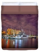 St Petersburg Florida City Skyline And Waterfront At Night Duvet Cover