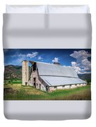 Summer Sunset With A Red Barn In Rural Montana And Rocky Mountai Duvet Cover
