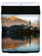 Sunset Over Lake Bled Duvet Cover