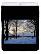 Sunset Over Obear Park In Snow Duvet Cover