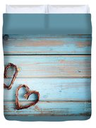 Two Hearts On Wooden Background Duvet Cover