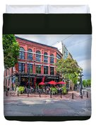 Outdoor Cafe In Gastown, Vancouver, British Columbia, Canada Duvet Cover