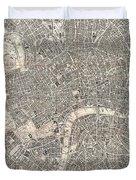 Vintage Map Of London England  Duvet Cover
