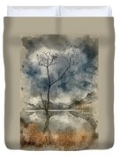 Watercolour Painting Of Beautiful Autumn Fall Landscape Image Of Duvet Cover