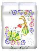 Welcome Spring. Rabbit And Flowers Duvet Cover