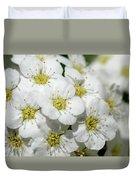 White Spiraea Flower Duvet Cover