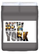 Yellow Cab Speeds Through Times Square In New York, Ny, Usa.  Duvet Cover