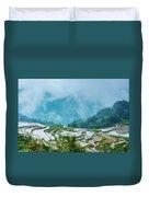 Longji Terraced Fields Scenery Duvet Cover by Carl Ning