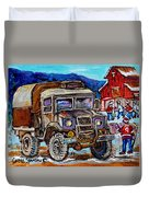 50's Dodge Truck Red Wood Barn Outdoor Hockey Rink  Art Canadian Winter Landscape Painting C Spandau Duvet Cover