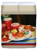 50's Style Food Malt Hamburger Tray  Duvet Cover