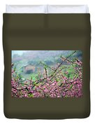 Blossoming Peach Flowers In Spring Duvet Cover