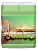 57 Chevy Nomad Wagon Blowing Beach Sand Duvet Cover