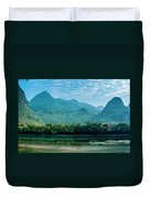 Lijiang River And Karst Mountains Scenery Duvet Cover