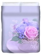 A Gift Of Preservrd Flower And Clay Flower Arrangement, Blue And Duvet Cover