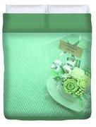 A Gift Of Preservrd Flower And Clay Flower Arrangement, White An Duvet Cover