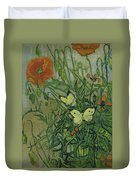 Butterflies And Poppies Duvet Cover