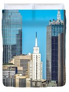 Dallas Texas City Skyline At Daytime Duvet Cover