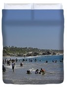 Enjoying A Day At The Beach Duvet Cover