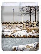 Frozen Winter Scenes On Great Lakes  Duvet Cover