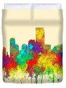 Jersey City New Jersey Skyline Duvet Cover