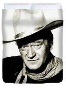 John Wayne, Vintage Actor By Js Duvet Cover