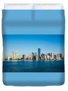 Miami Florida City Skyline Morning With Blue Sky Duvet Cover