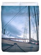 Newport Rhode Island Harbor With Tall Ships At Sunset Duvet Cover