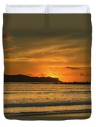 Orange Sunrise Seascape Duvet Cover