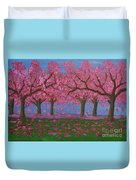 Pink Garden, Oil Painting Duvet Cover