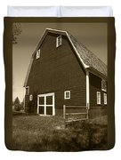Barn And Wild Flowers Sepia Duvet Cover