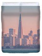 San Francisco California City Skyline At Spring Sunset Duvet Cover