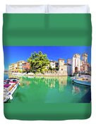 Town Of Sirmione Entrance Walls View Duvet Cover