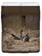 U.s. Soldier Conducts A Combat Training Duvet Cover