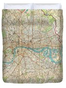 Vintage Map Of London England  Duvet Cover