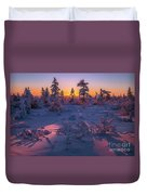 Winter Evening Landscape With Forest, Sunset And Cloudy Sky.  Duvet Cover