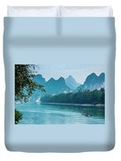 Lijiang River And Karst Mountains Scenery Duvet Cover by Carl Ning