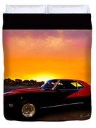 69 Camaro Up At Rocky Ridge For Sunset Duvet Cover