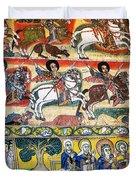 Ancient Orthodox Church Interior Painted Walls In Gondar Ethiopi Duvet Cover