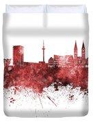Bremen Skyline In Watercolor Background Duvet Cover